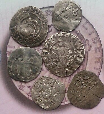 6 hammered silver coins English