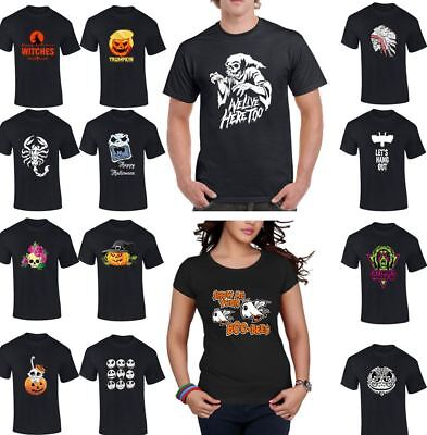 Halloween Spooky Tee Printed Mens Womens Top Boys Girls T Shirt Casual Wear Lot