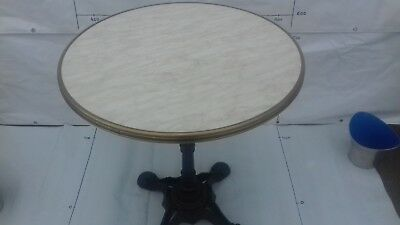 French Bistro Round Table Cast Iron Base and Marble Top with Hoop