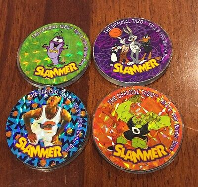 Tazo Slammer Set Looney Tunes Spacejam 1996 Green Blue Orange Purple