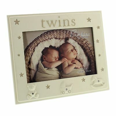 Bambino by Juliana Twins Photo Picture Frame Baby Shower Gift Keepsake