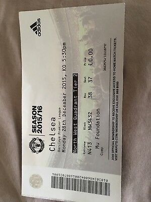 Manchester United V Chelsea Ticket Stub 28th December 2015