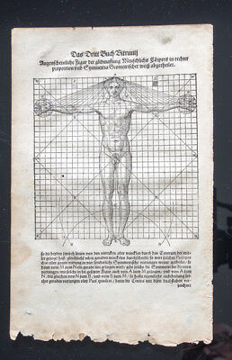 1547 German print of Da Vinci's Vitruvian Man by Walther Herman Ryff of Nurnberg