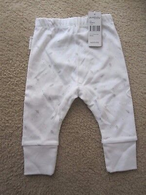 Purebaby leggings pants soft organic cotton Unisex leaves Size 00 BNWT RRP$18.95