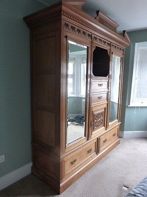 Large Antique Mahogany Wardrobe Victorian