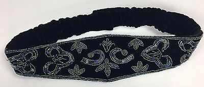 "Velvet Beaded Belt Cummerbund Black Iridescent Elastic Back 3.5"" Wide Holiday"