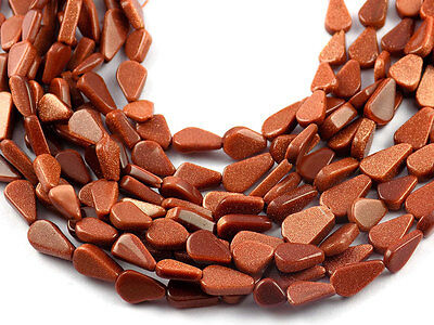"""5 Strands Synthetic Brown Sunstone Pear Shape 5x6-6x13mm 12.5"""" Long Smooth Beads"""