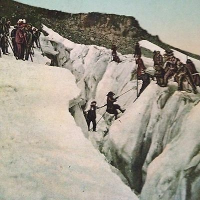 Vintage Mt Hood Oregon Postcard Crossing An Ice Chasm Americhrome Unused Color