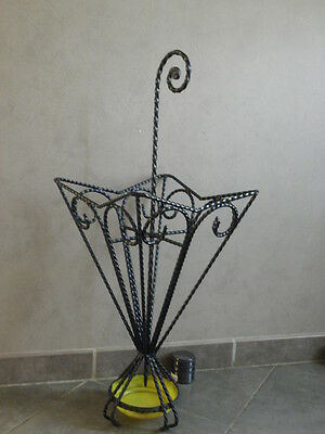 old Umbrella Stand ART retro Ornate vintage vtg Wrought iron hand Design