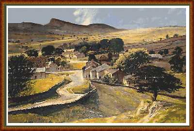 """'RIBBLESDALE, NORTH YORKSHIRE' Cross Stitch Chart (19½""""x12½"""") Landscape/Detailed"""