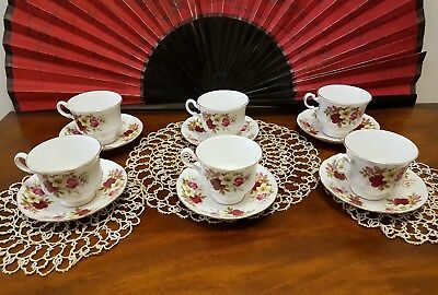 Vintage Queen Anne Fine China Teacups & Saucers x 6 - Pink Floral Pat tNo 8501