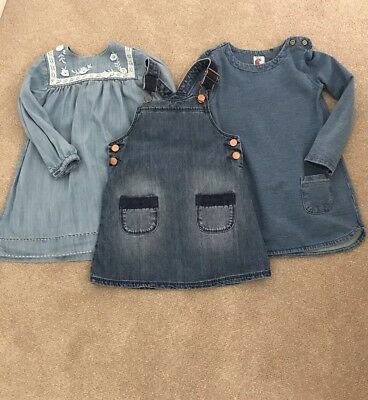 3 X Girls Denim Dresses, Age 3-4