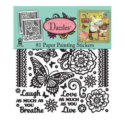 NEW Dazzles Stickers 8 inch X9 inch 2 pack Paper Painting-Black, Clear Foil