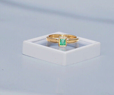 Emerald Ring , bright Green yellow gold- Goldsmith