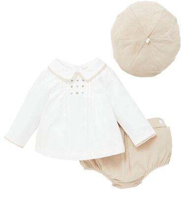Babies Spanish Romany Style Ivory/Camel Cotton Baby Cord 3 Piece Set 0-18 Mth