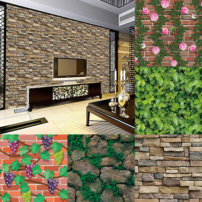 3D Wall Paper Brick Stone Effect Self-adhesive Wall Sticker Wallpaper Home Decor