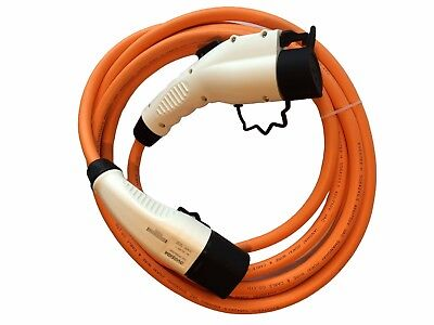 Dynamo Taxi EV Charging Cable fast 32amp 5m orange Type 2 to Type 1 + case