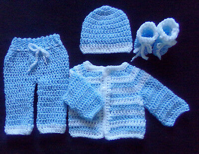 crochet Blue baby boy or doll pants sweater booties and hat handmade newborn