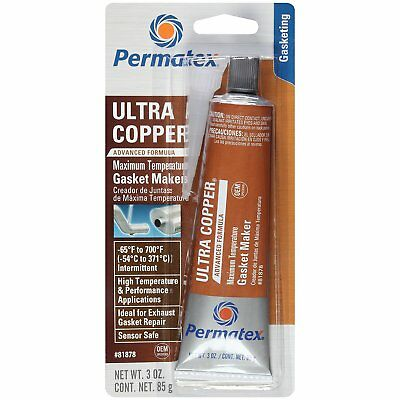 Permatex 81878 Ultra Copper Maximum Temperature RTV Silicone Gasket Maker 85g