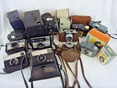 BUNDLE of 14 VINTAGE FILM CAMERAS: KODAK, ILFORD, HALINA, ENSIGN, ELJY      #NS#