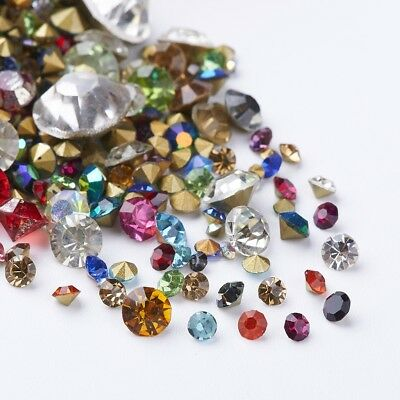 Glass Rhinestone Cabochons Diamond Shape Faceted Back Plated Mixed Color 1~10mm
