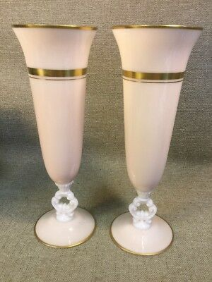 ANTIQUE VICTORIAN Pink MILK GLASS HAND PAINTED Gold Gilded Fluted Tall Vase Pair