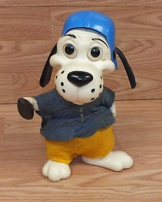 Genuine Vintage 1971 Deputy Dawg Football Player Piggy Bank With Blue Hat / #1