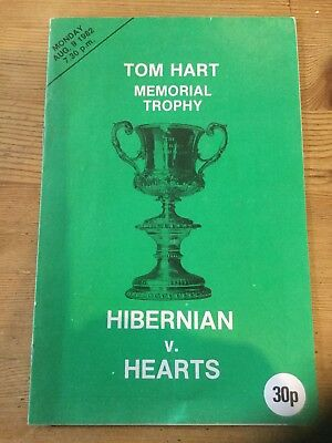 9.8.1982 Hibernian v Heart of Midlothian Tom Hart Memorial Trophy