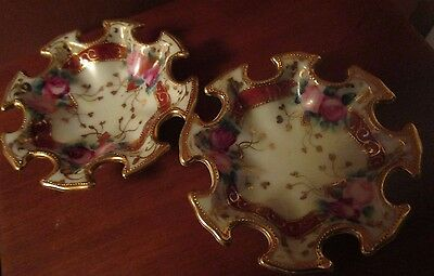 Set Of Two Ornate Hand Painted Nippon Moriage Salt Cellars/nut Dishes