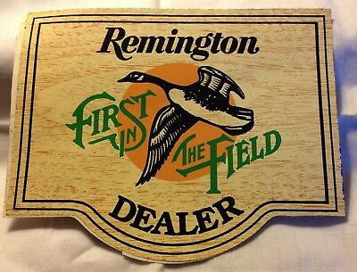 Vintage REMINGTON First in the Field Window 2-sided Decal NOS 1960's