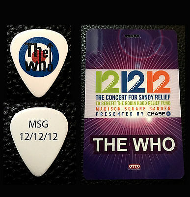 The Who - Pete Townshend - 12/12/12 Sandy Msg Backstage Pass & Guitar Pick