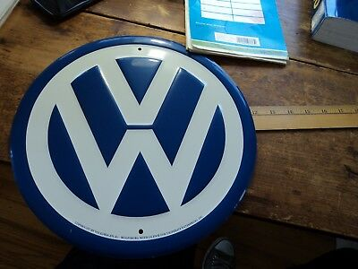 German Volkswagen VW AG Wolfsburg Blue White Original Sign Vintage