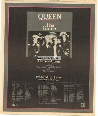 1980 QUEEN The Game Vtg Album Promo Print Ad with concert tour dates