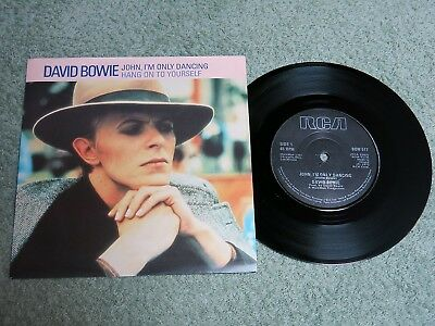 DAVID BOWIE John, I'm only dancing Ireland RCA 7-inch Lifetimes Solid centre BOW