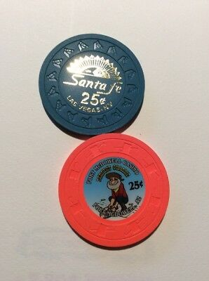 Casino Chip Lot - 25 Cent Denominations- 2 Different - Free Shipping