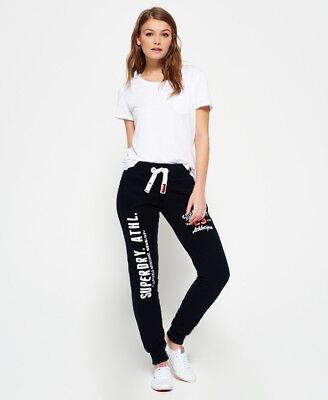 New Womens Superdry Track & Field Joggers Eclipse Navy