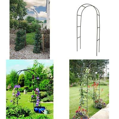 Large 2.4M Black Metal Garden Decor Arch Heavy Duty For Roses Climbing Plants