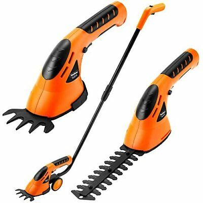 Cordless 2 in 1 Handheld Grass Shears Hedge Trimmer Wheeled Extension Handle