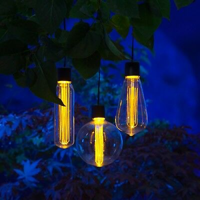 Noma Garden Art : Solar 365 : 3 Bulb Solar Light Set : Vintage Style Edison LED
