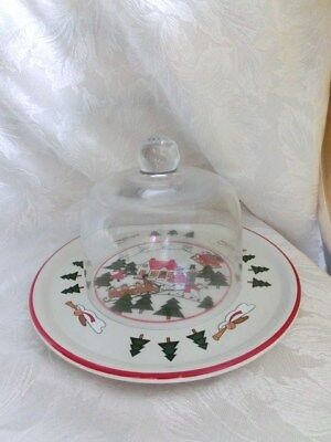 **Very Rare Masons Christmas Village Cheese & Cracker Set with Dome**