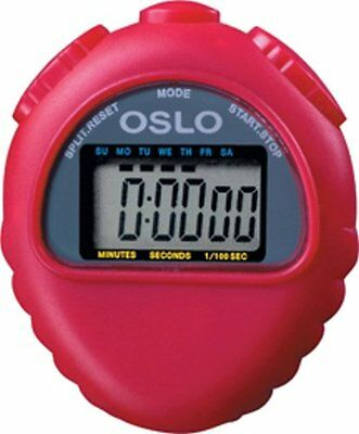 Red Oslo All Purpose Stopwatch With Time Calendar & Alarm Functions 1/100 sec