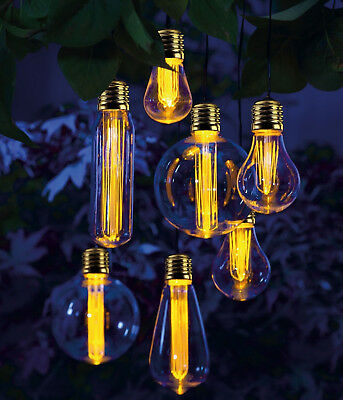 Noma Garden Art : Solar 365 : 7 Bulb Solar Light Set : Vintage Style Edison LED