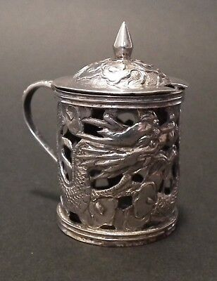 Good Chinese Export Silver Mustard Pot By Wang Hing