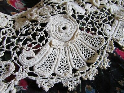 ABSOLUTELY STUNNING LENGTH ANTIQUE FRENCH CROCHET & NEEDLEPOINT LACE c1870's