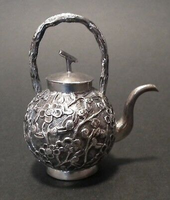 Good 19Th Century Chinese Export Silver Miniature Teapot