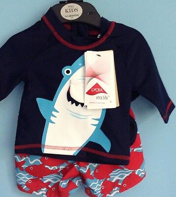 Bnwt M&s Baby Boys Sun Protection Outfit,age 0-3 Months, Hat,swim Shorts,top