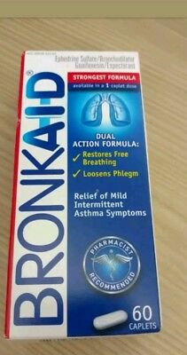 Bronkaid 60 Caplets Brand New Relief Asthma Congestion