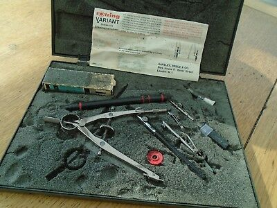 Vintage rapidograph and compass set, line rulers, extra nib, ink, leads, in case