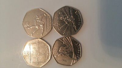 Olympic 50p coins -Football, Triathlon, Wrestling and Judo