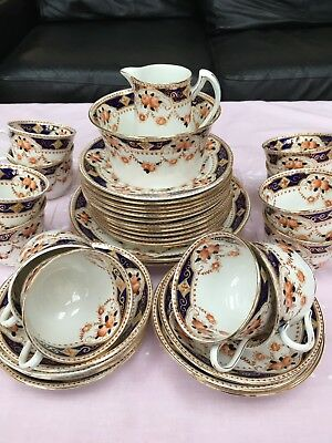 Pretty Vintage Navy and Peach Unmarked 38 piece China Tea Set